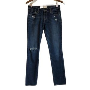 ABERCROMBIE & FITCH Distressed Low Rise Soft Stretchy Skinny Jeans Pants Blue
